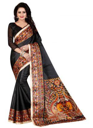 Printed Khadi Silk Black Saree