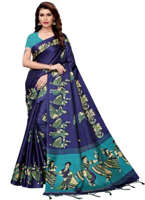 Printed Khadi Silk Navy Indian Saree