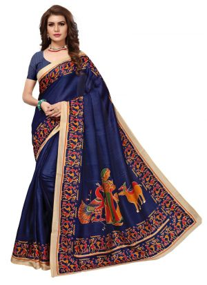 Printed Khadi Silk Navy Saree