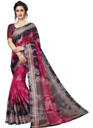 Printed Pink Color Jute Silk Saree