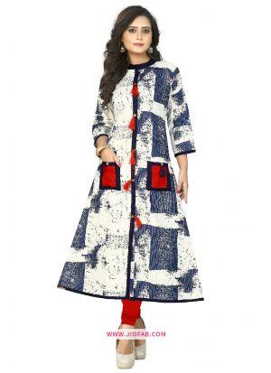 Printed Work Reyon,Cotton Fabric Blue Designer Kurti