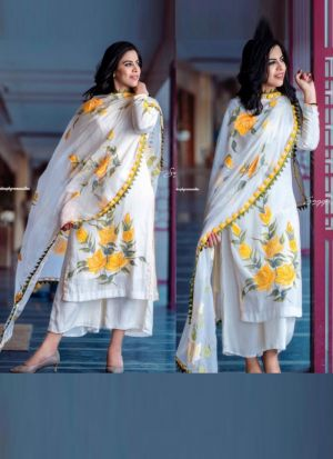 Printed Yellow Crepe Silk Palazzo Set Salwar Suit