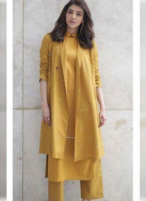Professional Look Moti Work Mustard Salwar Suit
