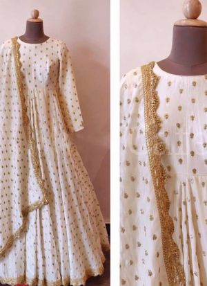 Pure Georgette Bemberg Off White Traditional Wear Gown