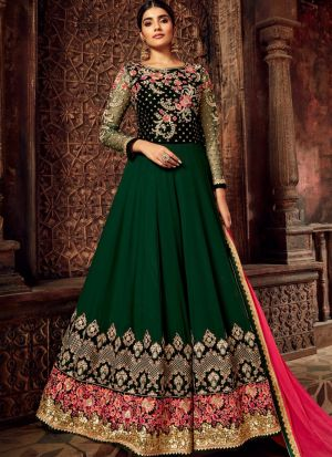 Pure Georgette Green Designer Anarkali Suit For Wedding