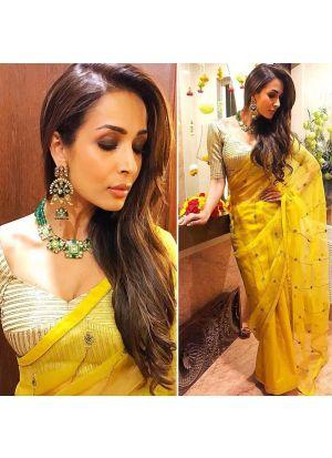 Pure Organza Silk Yellow Color Maliaka Arora Celebrity Wear Saree