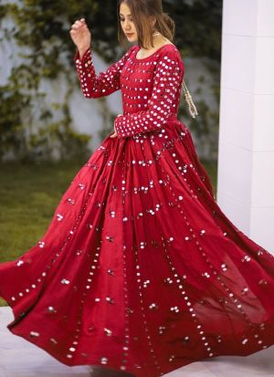 Pure Soft Litchi Silk Red Mirror Work Party Wear Gown