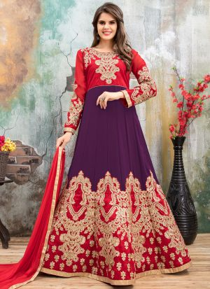 Purple And Cherry Red Faux Georgette Aanaya New Design Partywear Suit