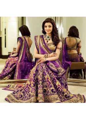 Purple Banglori Silk Wedding Bridal Lehenga Choli With Chinon Silk Dupatta