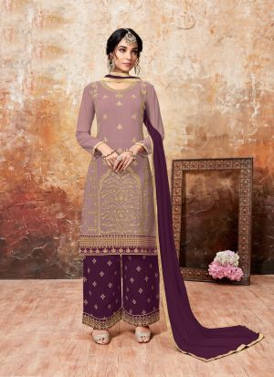 Purple Foux Georgette Designer Palazzo Style Salwar Suit With Heavy Work