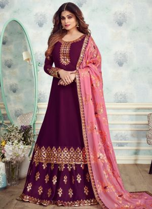 Purple Georgette Embroidered Skirt Kameez
