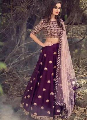 Purple Heavy Embroidery Designer Partywear Lehenga Choli
