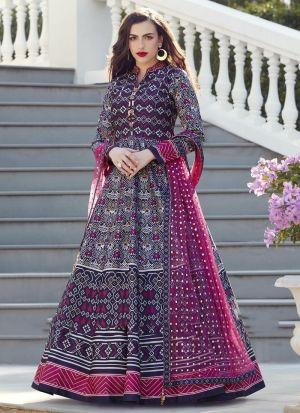 Purple Muslin Cotton Anarkali Style Kurti