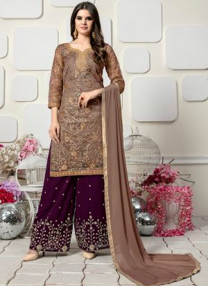 Purple Organza Designer Palazzo Style Salwar Suit With Heavy Work
