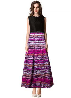 Purple Solid Long Maxi Dress
