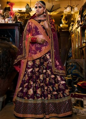 Purple Tafetta Silk Designer Lehenga Choli For Sangeet Ceremony