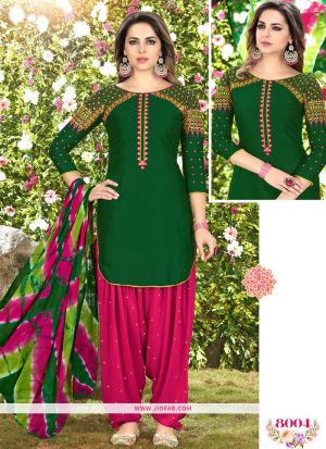 Queen Of Patiyala 8004 Mehandi Glaze Cotton Punjabi Suits For Women