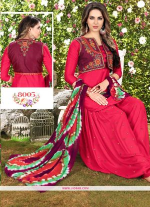 Queen Of Patiyala 8005 Red Embroidered Traditional Salwar Suit