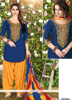 Queen Of Patiyala 8006 Blue Glaze Cotton Designer Salwar Suit
