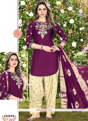 Queen Of Patiyala 8009 Dark Purple Glaze Cotton Designer Salwar Suit