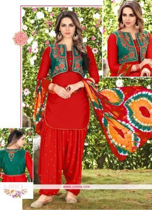 Queen Of Patiyala 8013 Red Glaze Cotton Punjabi Suits For Women