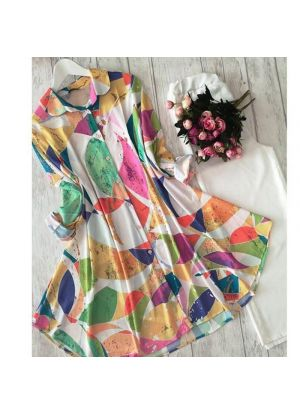 Rainbow Of White American Crepe Digital Printed Top With Palazzo