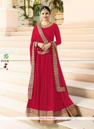 Raj Mahal 7171 Red Embroidered Designer Floor Length Salwar Suit
