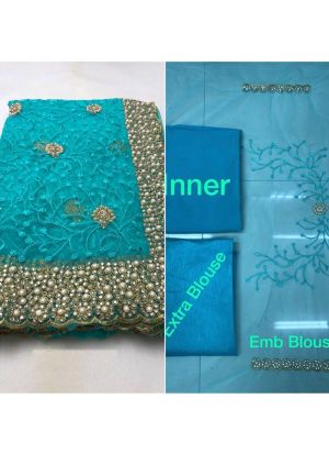 Diwali And Wedding Special Heavy Embroidery Net Designer Saree