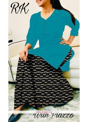 Rama Rayon Plain Designer Stitched Kurti With Palazzo