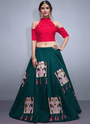 Rama Tafetta Silk Volume 8 Bride Maids Lehenga Choli