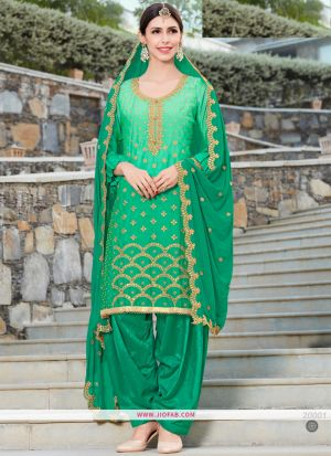 Rangoli Embroidered Green Color Dress Material