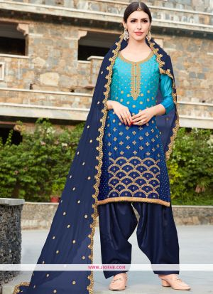 Rangoli Embroidered Sky Blue And Navy Dress Material