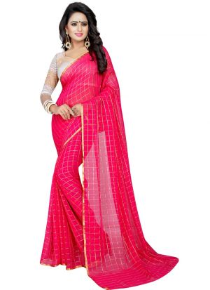 Rani Chiffon Saree With Blouse