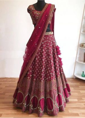 Raspberry Pink Faux Georgette Indian Latest Bridal Lehenga Design With Faux Georgette Dupatta