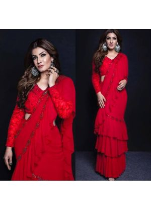Raveena Tandon Red Ruffle Saree