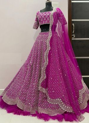 Ravishing Pink Coloured Thread Work Party Wear Lehenga Choli