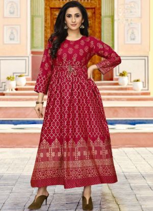 Rayon Maroon Colour Fancy Causal Wear Kurti For Women