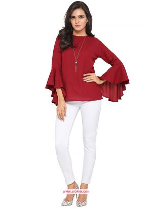 Red American Crepe Plain T Shirt For Ladies