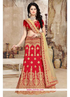 Red Bridal Heavy Net Chaniya Choli