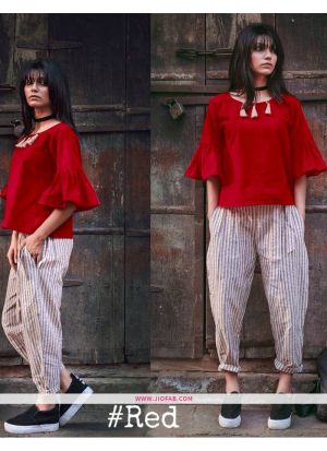 Red Charkha Khadhi Top with Pant