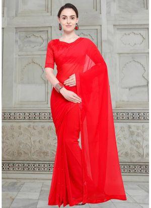 Red Chiffon Stylish Designer Party Wear Fancy Saree