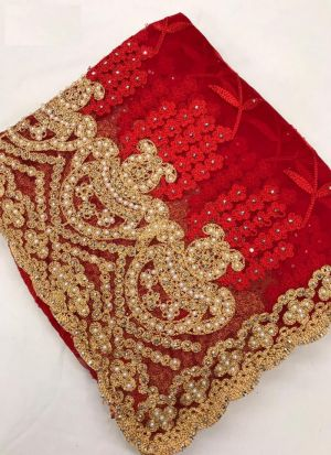 Red Color Heavy Net Saree With Beautiful Blouse