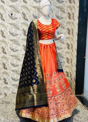 Red Color Jacquard Lehenga Choli With Banarasi Silk Dupatta