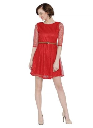 Red Color Latest Western Dress