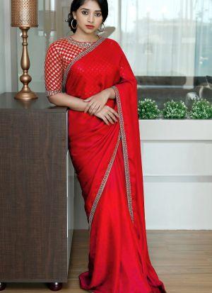 Red Colored Two Tone Silk Fancy Dori Work Saree