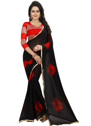 Red Colour Chiffon Indian Saree