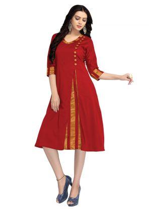 Red Cotton Silk Women Latest Wear Kurti Collection