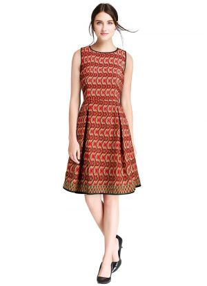 Red Crepe Womens Western Dresses