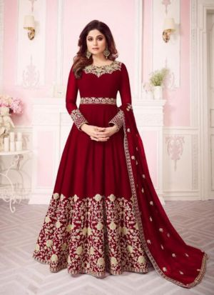 Red Georgette Embroidered Floor Length Anarkali Suit
