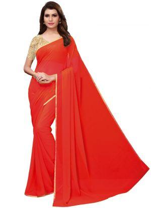 Red Georgette Solid Trendy Designer Saree